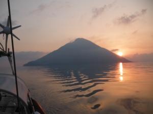 Sunrise behind Stromboli