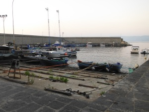 Boats hauled out and sword fish boats