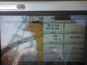 8.5 knots in the Messina Strait!
