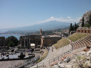 Taormina Greek/Roman theatre with Etna in the background