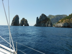 Impressive stacks, sailing past Capri