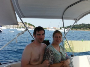 Kirsty and Chris relaxing on board