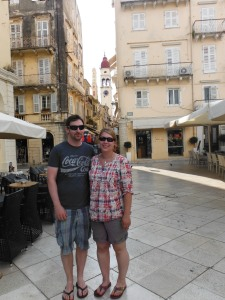 Kirsty and Chris in Corfu town before the storm